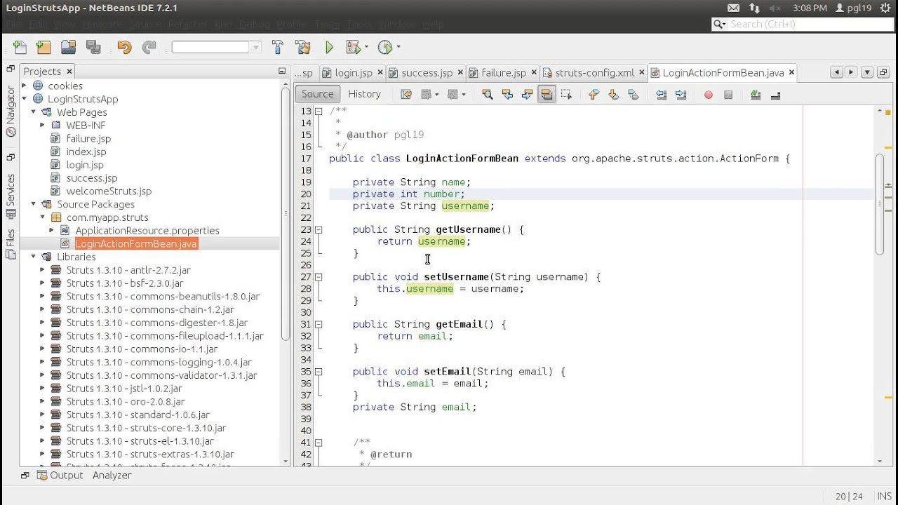 Sample Application Using Struts 1.3.10 in NetBeans 7.2