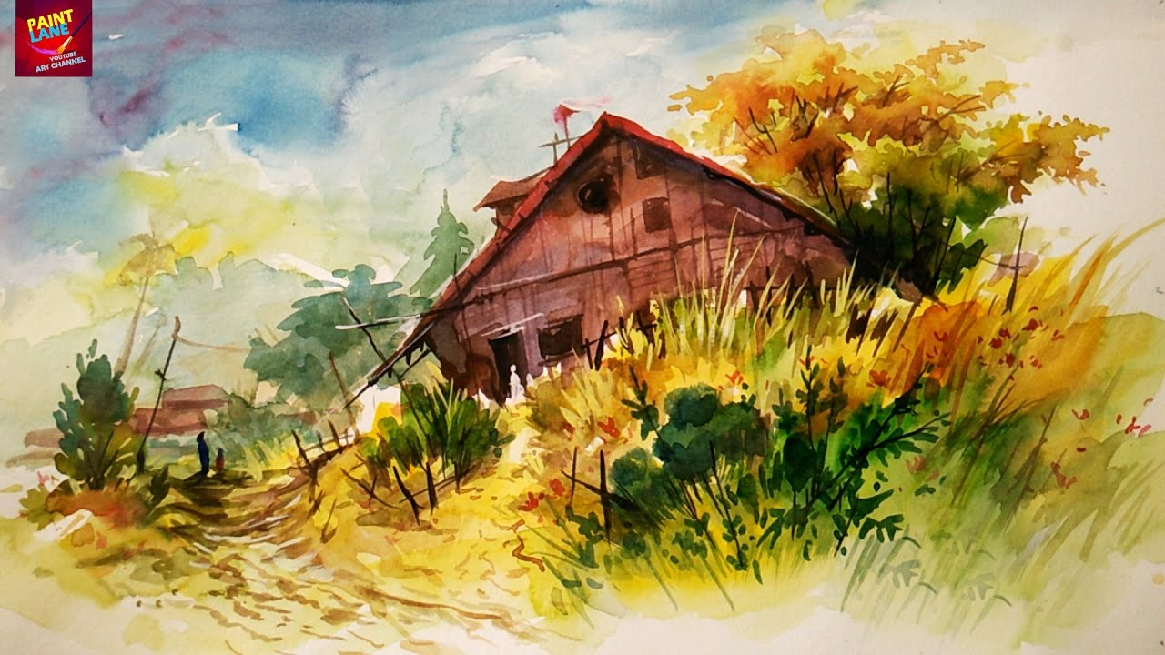 How To Paint A Simple Landscape With Easy Strokes Of Watercolor For Beginners