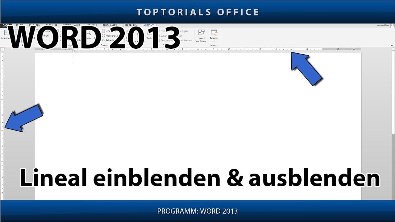 Lineal einblenden & ausblenden (Microsoft Word) - YouTube