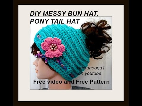 Messy Bun Hat Pony Tail Hat Adult Size Free Crochet Pattern And
