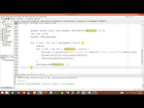 Java tutorial avrageNstudent(array2d) Kurdish language