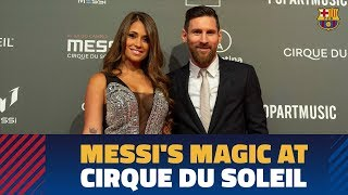 Messi and his team-mates present at the Messi10 presentation by Cirque du Soleil