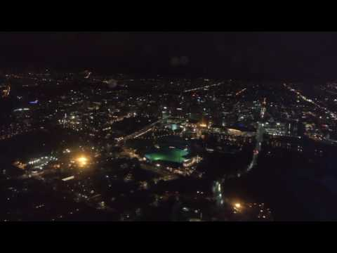 Landing into Adelaide Airport (ADL) at night, approach over CBD