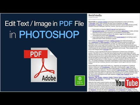 How To Change Text Or Image In PDF File Using Photoshop Easily (Edit PDF File In Photoshop) 2017