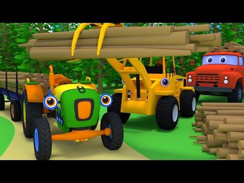 Мультики про машинки. Трактор Макс, грейферный погрузчик и грузовик лесовоз. Развивающие мультфильмы