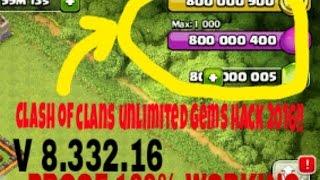 CLASH OF CLANS (V8.332.16) HACK UNLIMITED GEMS!! 2016 HACK 100% WORKING!