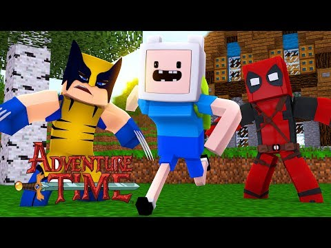 Minecraft Adventure Time  - FINN GETS BULLIED BY DEADPOOL AND WOLVERINE