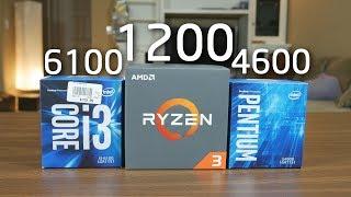 AMD RYZEN 3 1200 vs Pentium G4600 vs i3 6100 Best 100 CPU for Gaming Editing OzTalksHW