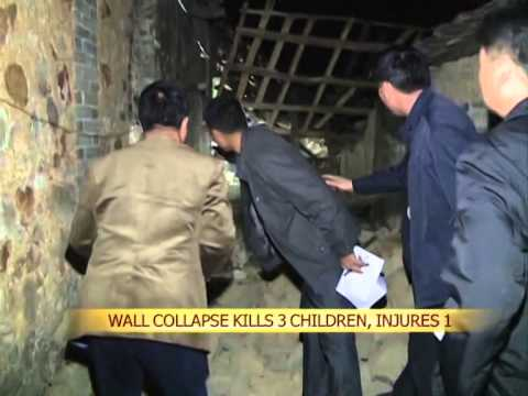 Wall collapse kills 3 children, injures 1