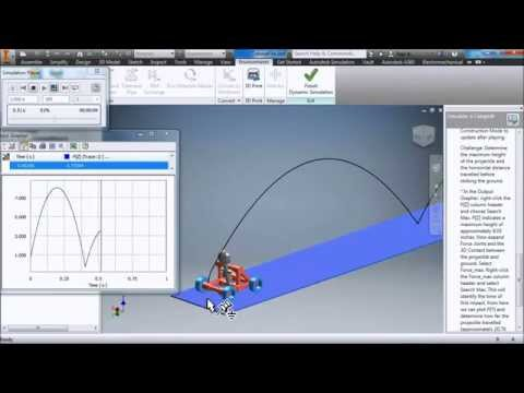 3D Virtual lab Autodesk Inventor time/Velocity - time/Acceleration - time/Position