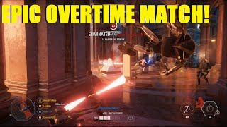 Star Wars Battlefront 2 - EPIC Overtime Theed match! Darth Maul completely carries team!