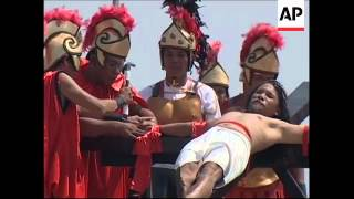 Flagellation and crucifixion re-enactment mark Good Friday