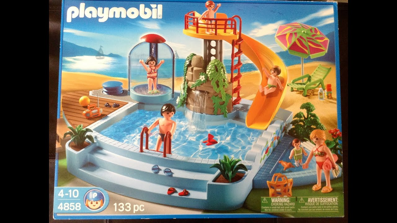 Charming Playmobil Open Air Pool With Slide 4858