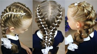 3 Back to school hairstyles! Ribbon braids.