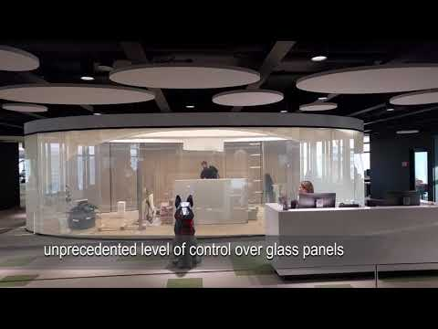 Control your glass transparency with Smart Film. Example at TELE2 Office Vilnius, Lithuania