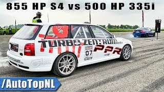 855HP Audi S4 Avant vs 500HP BMW 335i 1/2 MILE SPEED TRAP by AutoTopNL
