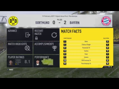 FIFA17 career, Bundesliga match v Borussia Dortmund, Live Stream.
