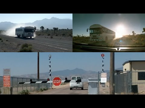 Area 51 Gates Filmed Entering and Leaving White Bus and Van (Black Tinted Windows) - FindingUFO