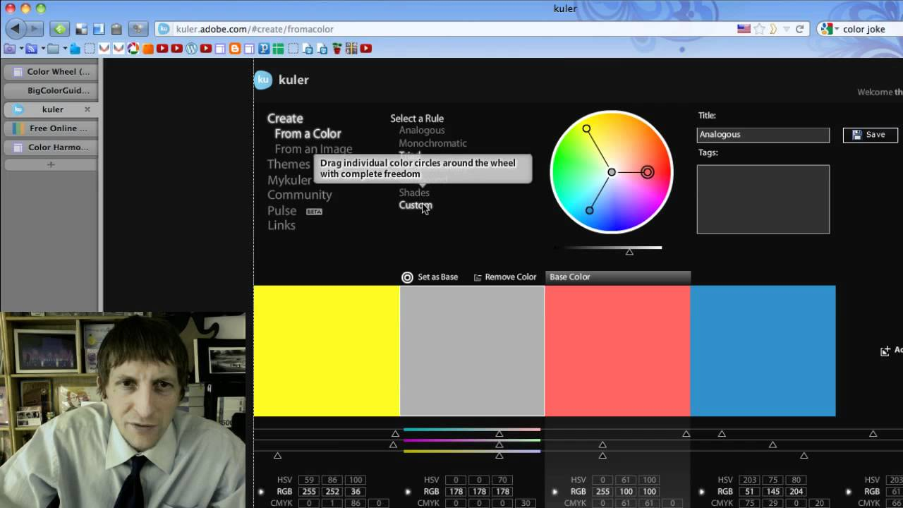 Color Wheel Harmony Tutorial Using Kuler Youtube