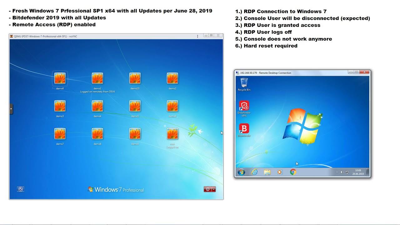 Bitdefender 2019 Issue with Windows 7 RDP