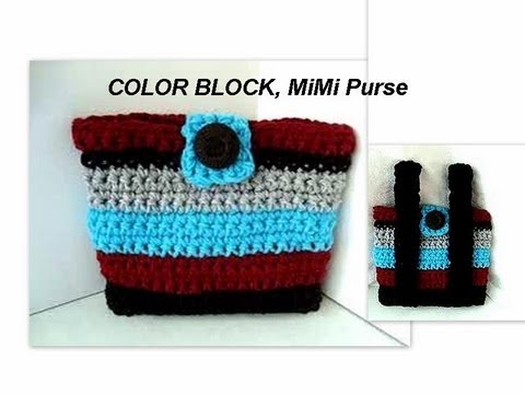 COLOR BLOCK crochet MIMI BAG, and how to line a bag, crochet pattern, how to diy bags and purses