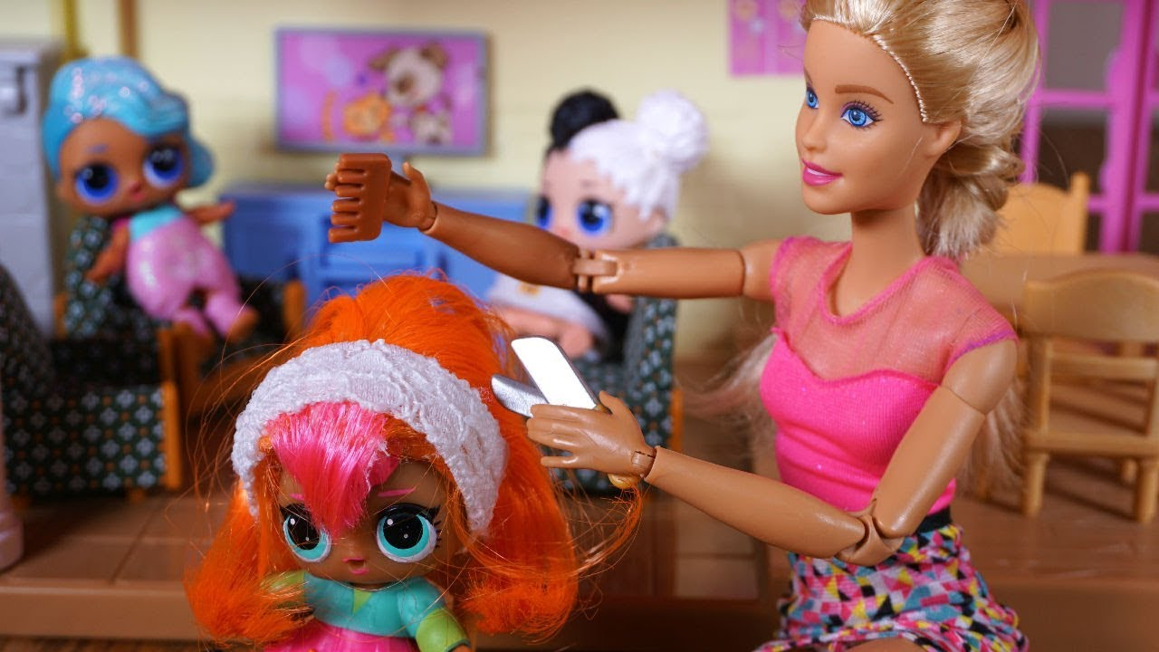 Lol Surprise Doll Cutie Gets Haircut And Barbie Talks
