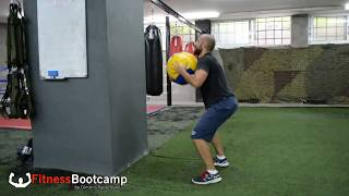 Medicine ball chest press throws w/ squat and split squat Fitness Bootcamp