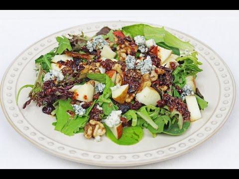 asparagus apple salad with blue cheese vinaigrette