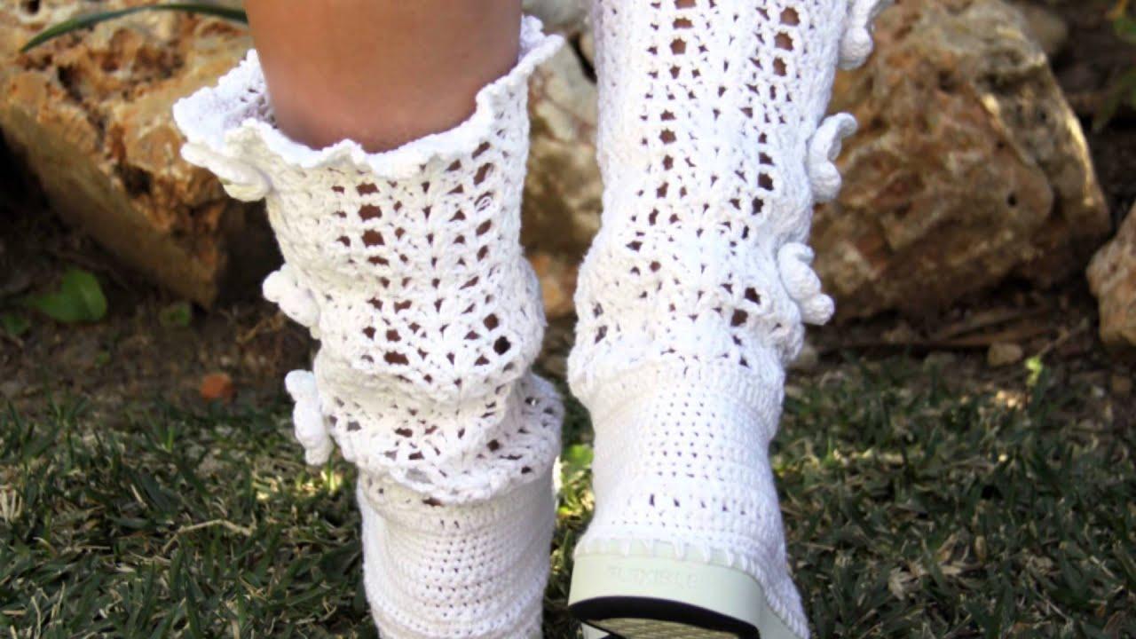 Botas de Crochet Mujer Joven Niñas - YouTube