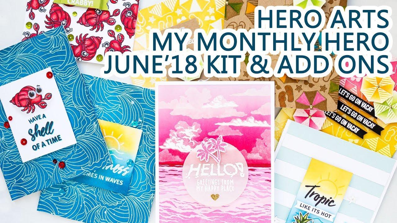 Hero Arts June 2018 My Monthly Hero Kit Add Ons Card Ideas Summer