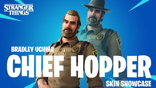 Chief Hopper Skin Showcase (PS4) + Gameplay Stranger Things x Fortnite