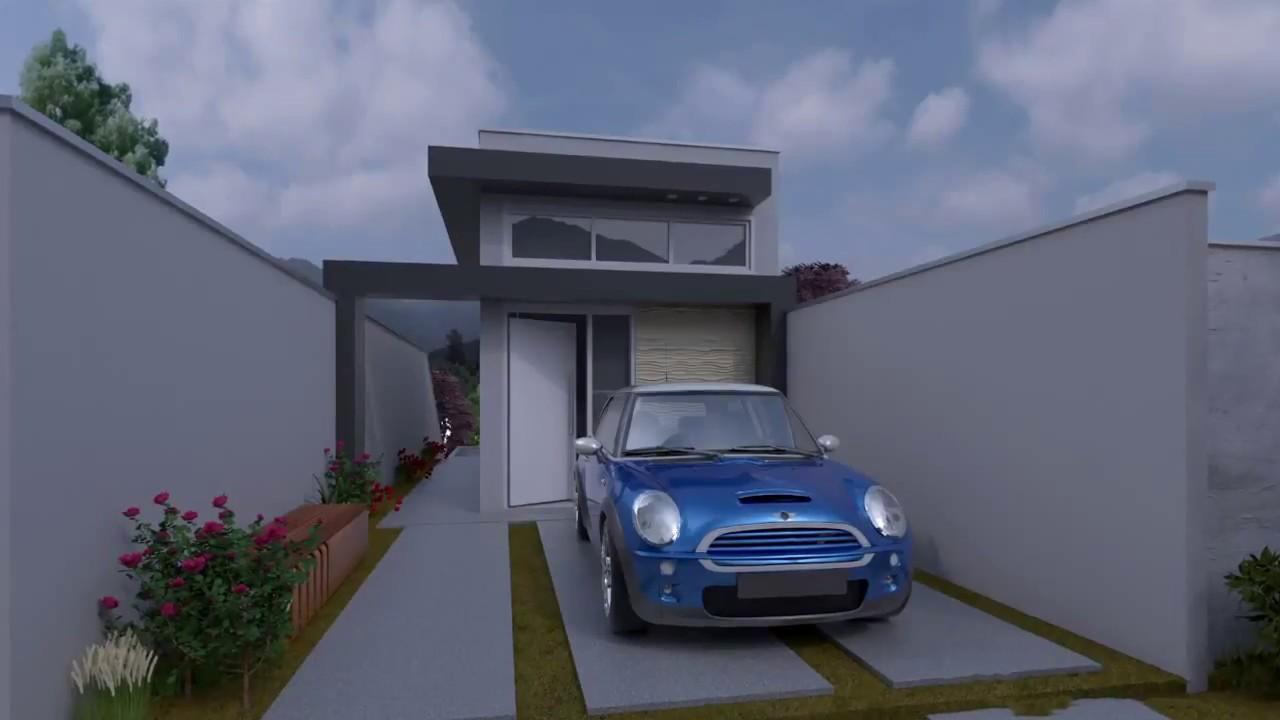 Projeto casa terrea 5x25 64 m moderna youtube for Casa moderna 64