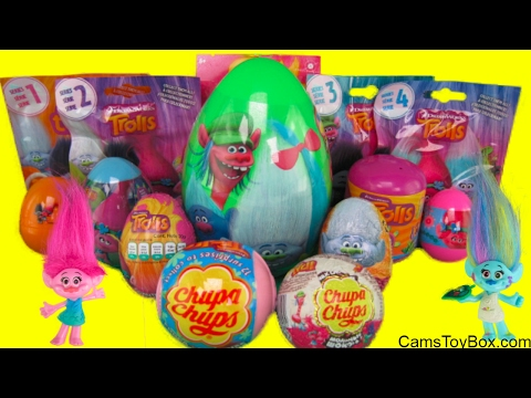 Dreamworks Trolls Blind Bags Series 1 2 3 4 Chupa Chups Chocolate Plastic Easter Eggs Surprises