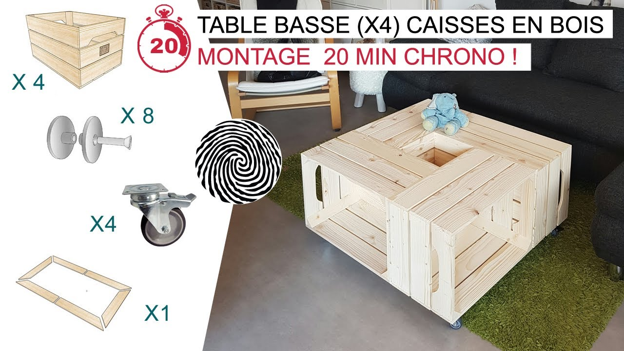 le fameuse table basse x4 caisses en bois par simply a box youtube. Black Bedroom Furniture Sets. Home Design Ideas