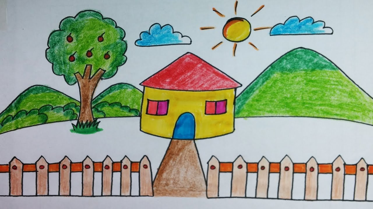 House Easy Drawing For Kids Class Simple House With Nature Drawing And Coloring Youtube