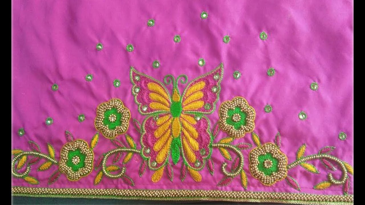73090163c4 Amazing Mirror Embroidery Work Blouse Designs For Border Saree | Blouse  Patterns With Mirror Work