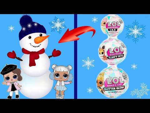 Делаем снеговика из шариков ЛОЛ Сюрприз Новые ИГРУШКИ серии Winter Disco Блестящий Шар