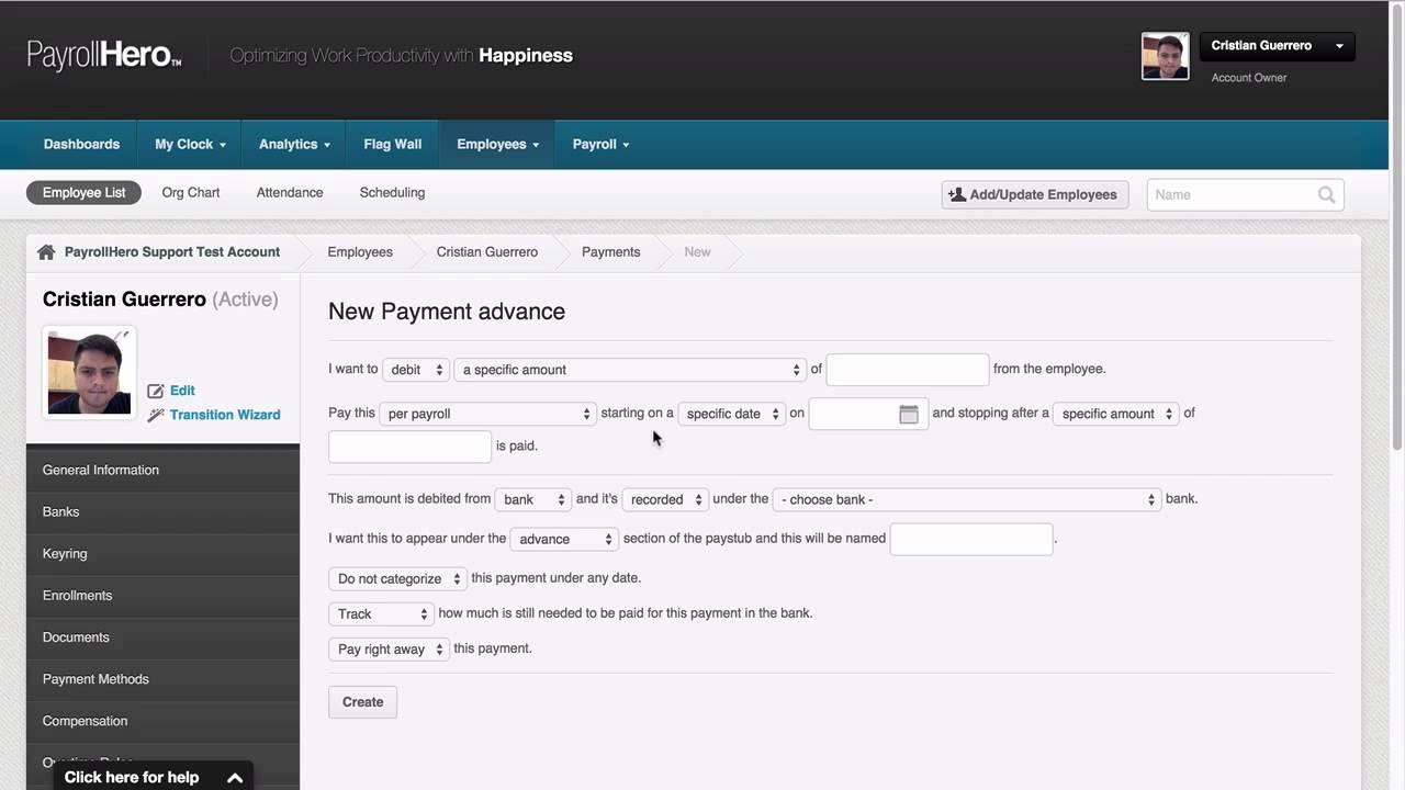 PayrollHero Payroll: Adding a Cash Advance to employee pay