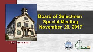 Board of Selectmen Special Meeting 11 20 2017