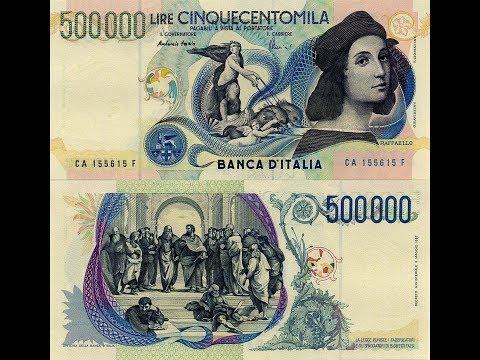 500,000 Liras Italian Lire  Italy banknotes money Raffaello