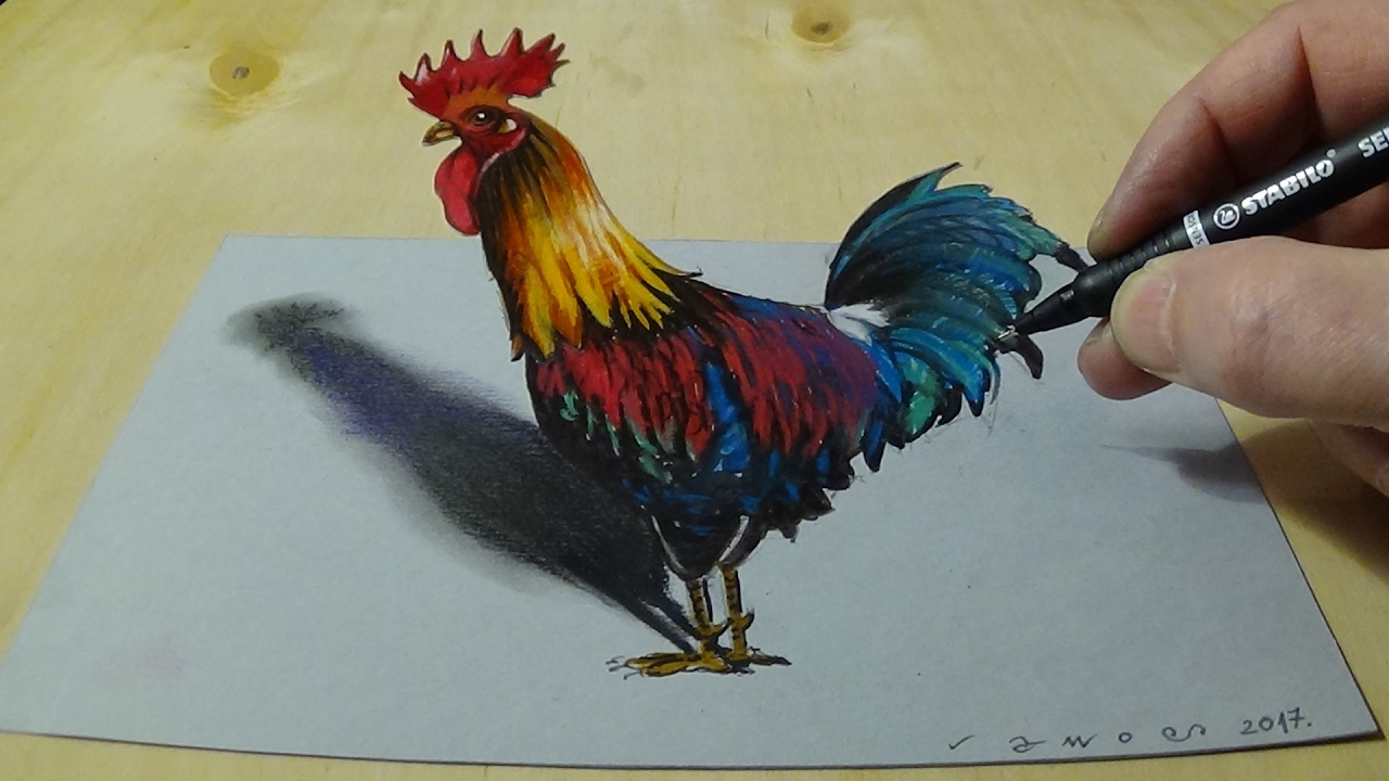 drawing anamorphic rooster for kids adults how to draw 3d rooster trick art on paper youtube