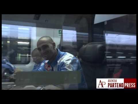 Calciatori del Napoli in treno per Firenze
