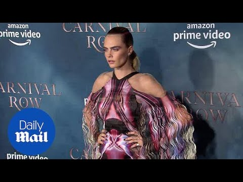 Cara Delevingne in multicolored gown at 'Carnival Row' premiere