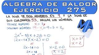 Solución del Ejercicio 275 Algebra de Baldor