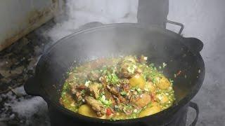 Простой рецепт Тушеная курица с овощами в казане