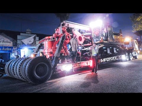Scania And Volvo Trucks Moving Excavator Drilling Rig