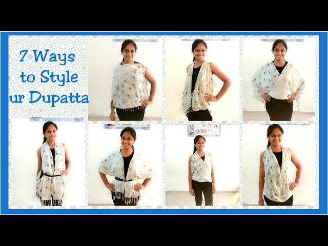 DIY:style Dupatta in 7 ways! how to make  Stylish top,strug, kimono(Bina Kathiria)