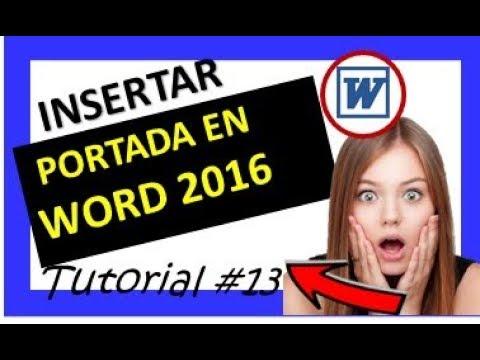 INSERTAR PORTADA CURSO DE WORD 2016 - YouTube