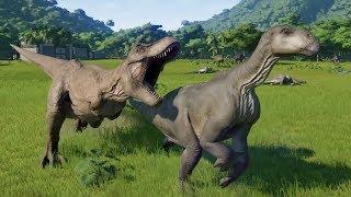 T-Rex Hunts Iguanodon Herd - Jurassic World Evolution
