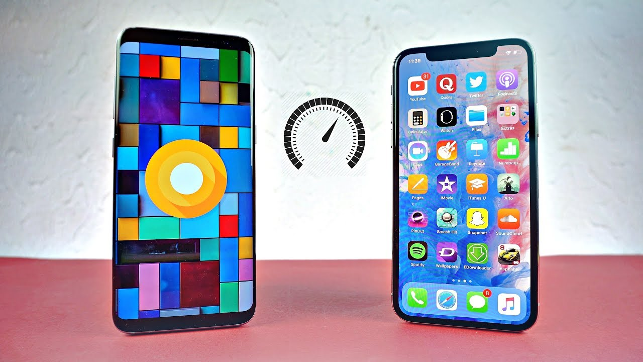 Samsung Galaxy S8 Android 8 0 Oreo vs iPhone X - Speed Test! (4K)